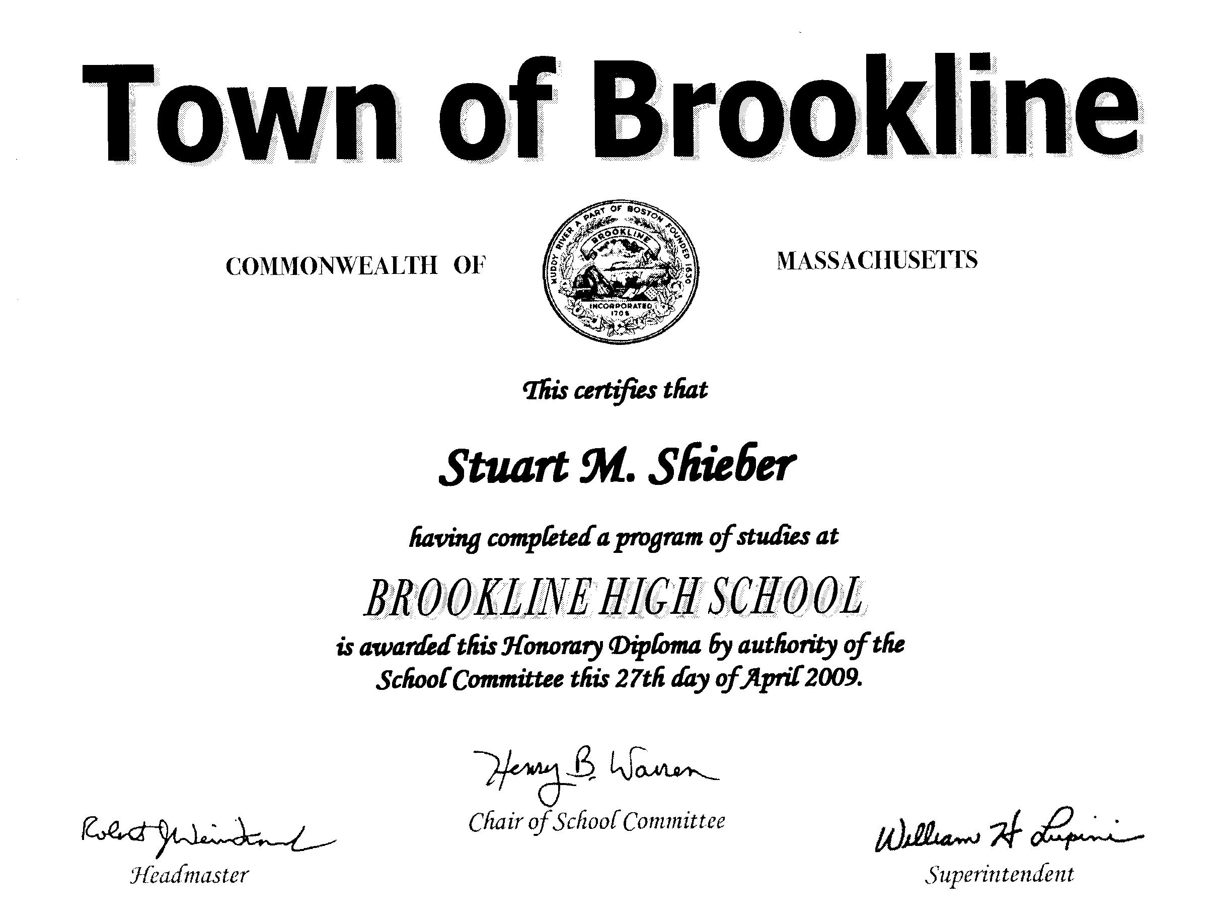 honorary high school diploma